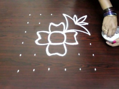 Flower kolam designs with 6x6 dots- chukkala muggulu designs with dots- simple rangoli designs