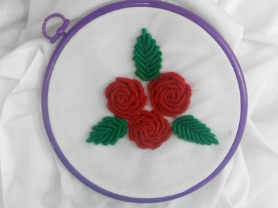 Hand Embroidery - Red Roses Bullion Knot Stitch