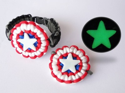 How to Make a Captain America's Shield Inspired Paracord Bracelet-Ring.Glow in the dark Star