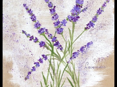 How to paint Lavender flowers with any kind of watercolor on normal paper .