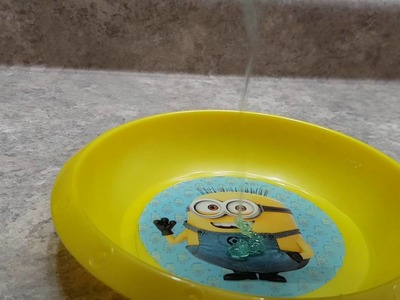 Making Slime with Minion lip gloss!