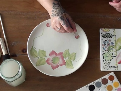 One Stroke Painting on Pottery. Ceramics