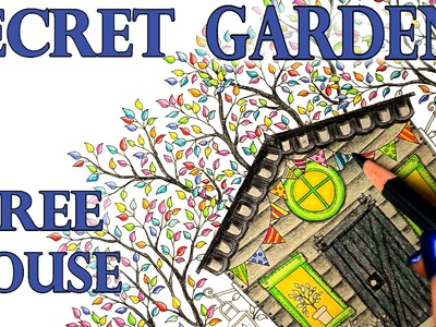 Secret Garden Tree House Coloring Book Tutorial -  Colored Pencil - Polychromos