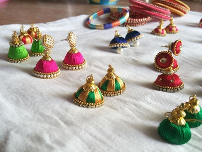 Silk thread  jhumkas making video and bangles : do it yourself at home