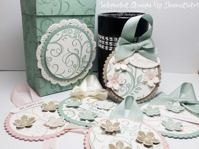 Stampin Up! Beautiful Circle gift Tags with matching box using Falling Flowers