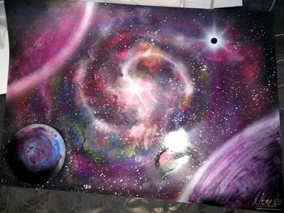 Amazing spray paint art nebula picture pink violet blue space painting cosmous by Homenko