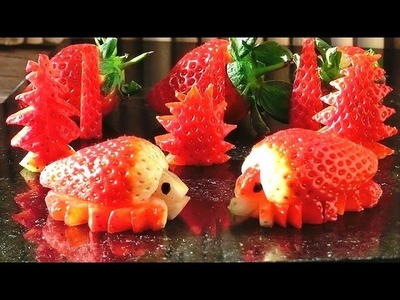 Art In Strawberry Turtles | Fruit Carving Garnish | Party Food Decoration | Italypaul.co.uk