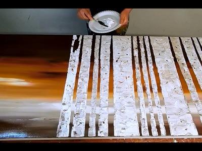 Birch Tree Painting tutorial. Speed Demo. 3D. Großes Acrylbild. Baum Birken malen by ilonka