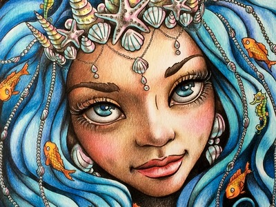 Colored Pencil Illustration SPEED PAINTING Mermaid Portrait by Ch.Karron