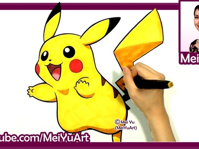 Drawing Pikachu  - Cute Pokemon Fan Art Speed Drawing by Mei Yu - MeiYuArt