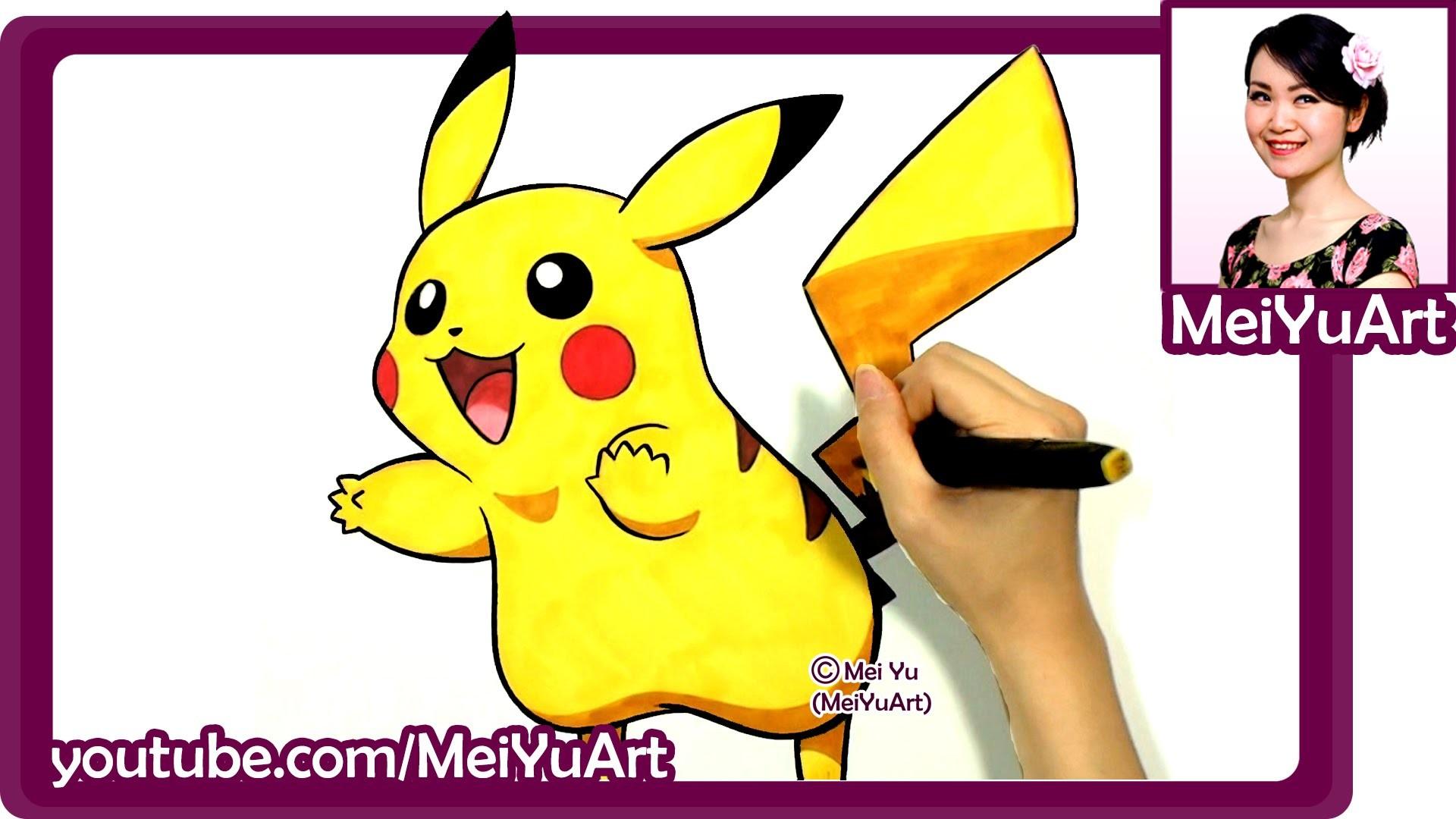 Drawing Pikachu Cute Pokemon Fan Art Speed Drawing By Mei Yu