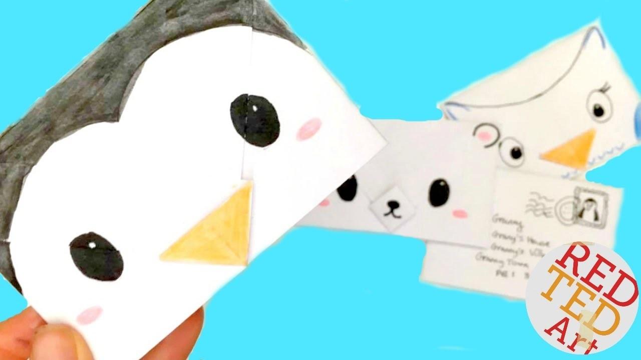 Easy Origami Envelope Winter Animals Polar Bear Penguin