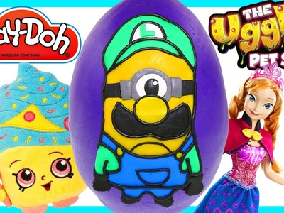 LARGE Play doh Luigi Minion Surprise Egg Mario Toy Egg   Shopkins Frozen Ugglys  