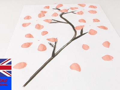 Paint paint cherry blossom tree with plastic bottle | Beautiful art for your home