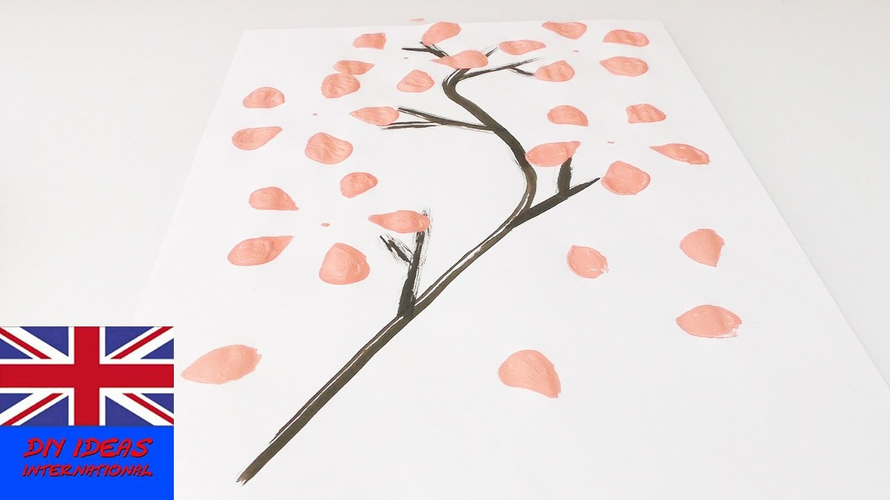 Paint paint cherry blossom tree with plastic bottle   Beautiful art for your home
