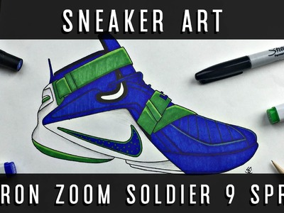 Sneaker Art: Lebron Zoom Soldier 9 Sprite + Giveaway!! w. Downloadable Stencil!