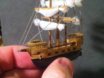 The 2inch Long Galleon on Ocean (time lapse) Created out of Balsa Wood - Boat