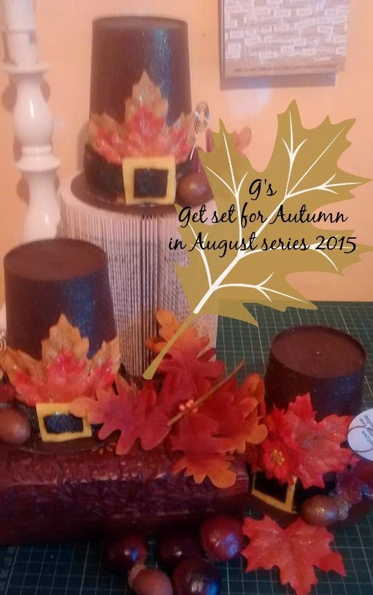 V4.4 upcycled cd and yoghurt pot to Pilgrim hat # event #FALLINLOVEWITHAUTUMN