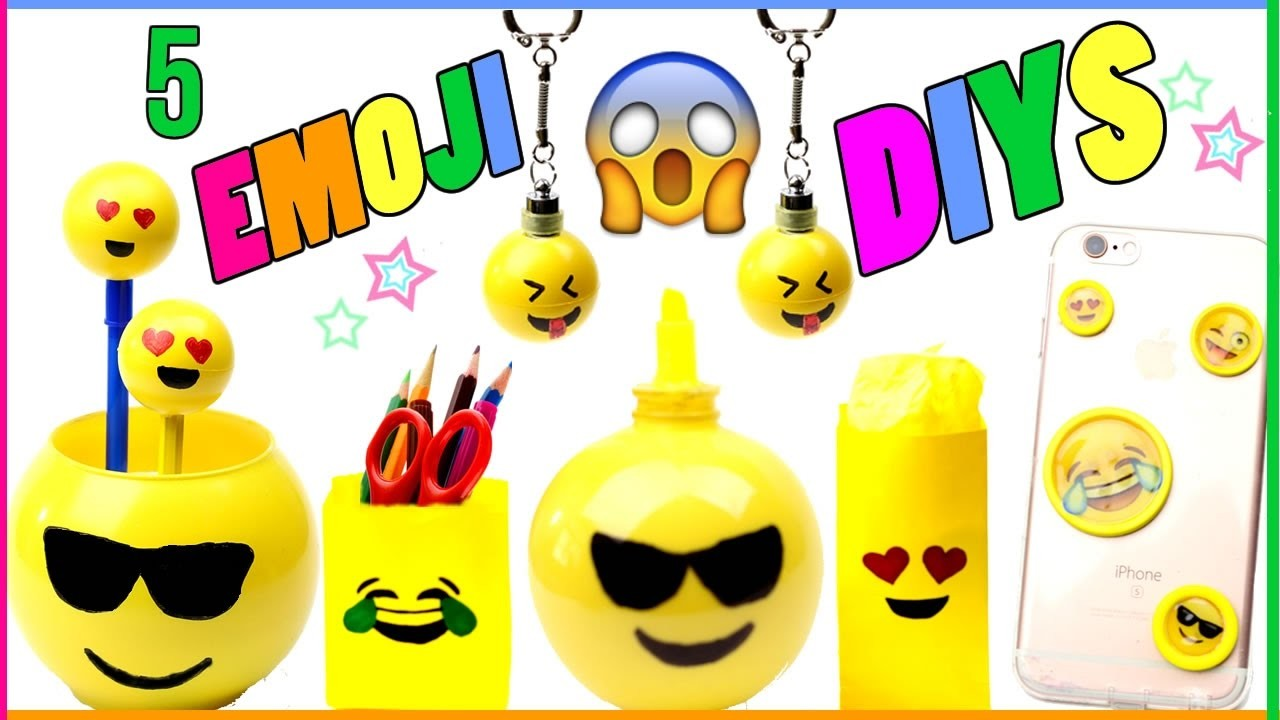 5 DIY Emoji Projects You NEED To Try! Room Decor, Phone Case, Keychains, Pencils - EASY DIYs