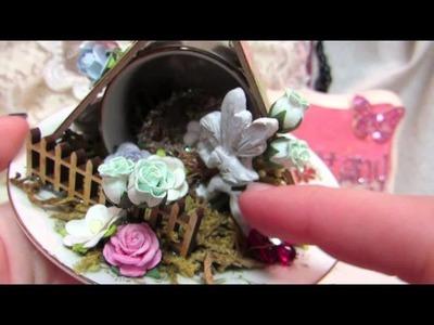 Altered tea Cup and Saucer (Fairy Scean)