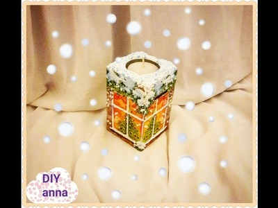 Christmas decoupage candle holder and piggy bank DIY ideas decorations craft tutorial. URADI SAM