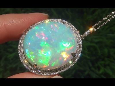 Estate 34.31 Carat Natural Ethiopian Opal Diamond 14k Yellow Gold Pendant Necklace - C600