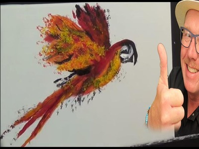 Fun Parrot, Acrylic painting for beginners,