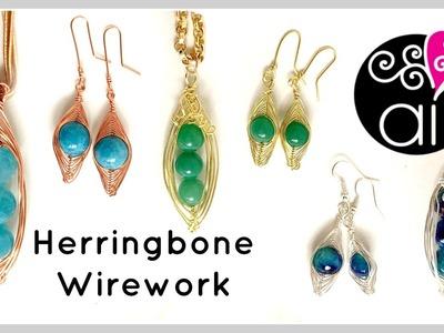 Herringbone Wire Wrapping Tutorial | Three Peas in a Pod Pendant + Earrings