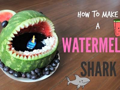 HOW TO MAKE A WATERMELON SHARK!! | NICKI LEE BAKES