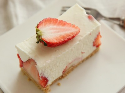 No-Bake Strawberry Cheese cake Easy Recipe : Honeykki 꿀키