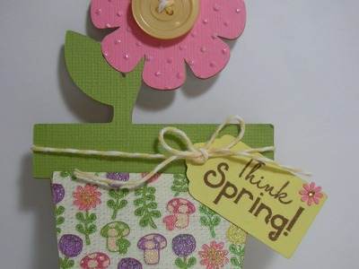 Think Spring-flower pot shaped card