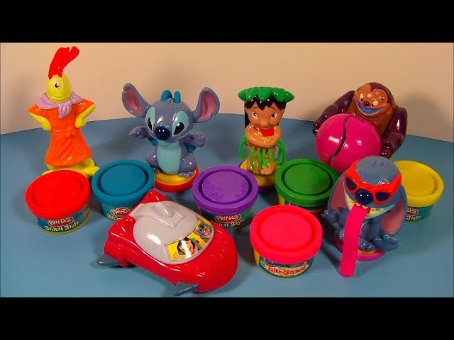 2004 DISNEY'S LILO and STITCH PLAY-DOH SET OF 6 McDONALD'S HAPPY MEAL TOY'S VIDEO REVIEW