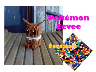 3D Hama Beads Perler beads Pyssla Eevee how to assembly
