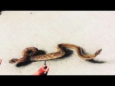 3D Rattlesnake Sidewalk Chalk Art Drawing - REALISM ILLUSION - Too close for comfort?