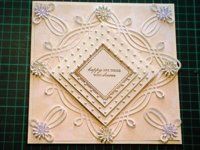 65. Cardmaking Tutorial - Anna Griffin Fretwork Celtic Die Cream Diamond Card