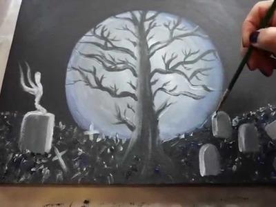 Acrylmalerei, Halloween, Baum, Mond, Geist, Acrylic Painting, Tree, Moon, Ghost