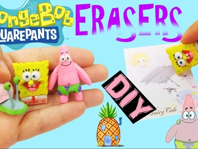 DIY SPONGEBOB ERASERS - How to make Patrick, Gary, Squarepants polymer clay tutorial craft