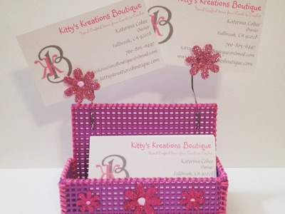 DYI Business Card Holder! Plastic Canvas & Embroidery Floss - Super Easy