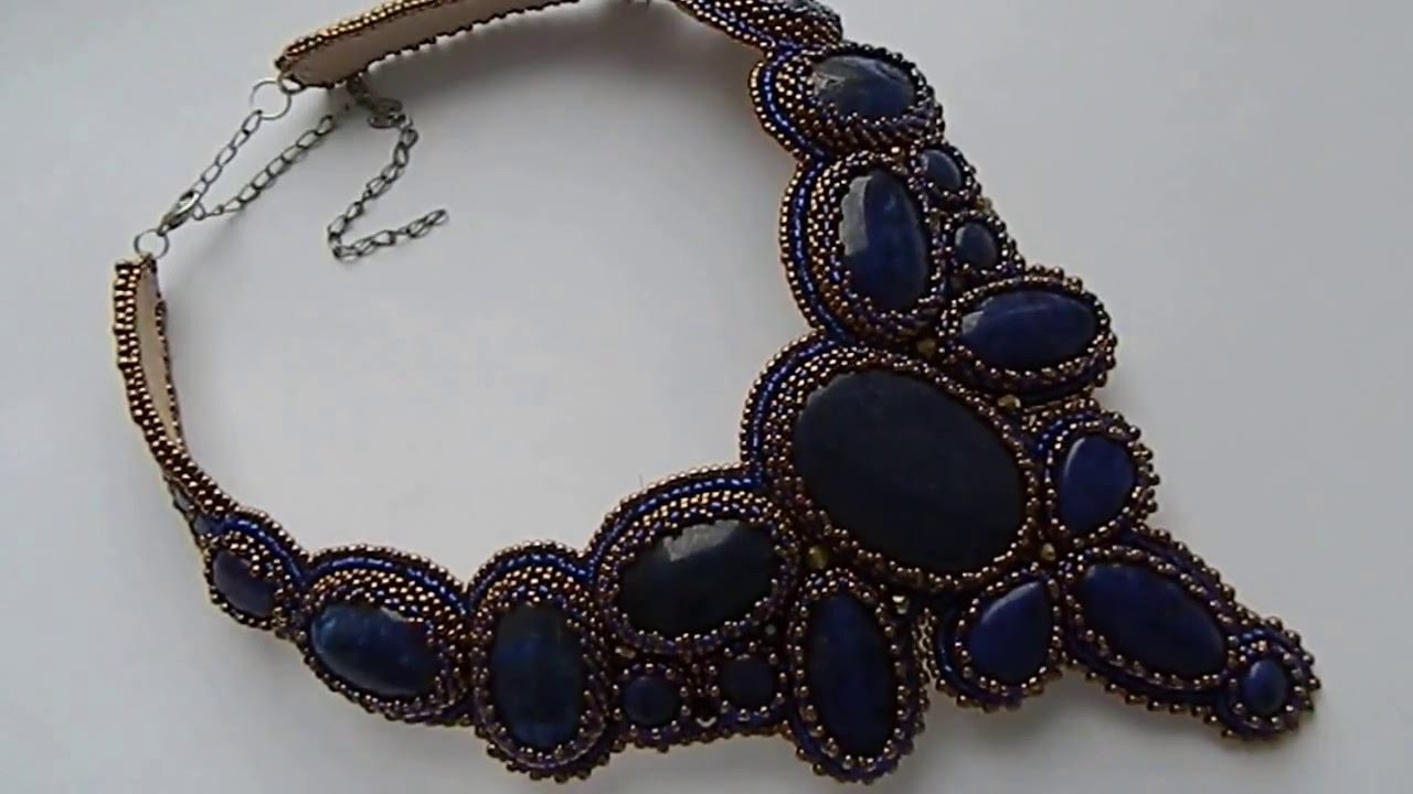 Embroidery necklace with seed beads and lapis lazuli