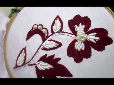 Hand Embroidery Stitches | Stem and Bullion Knot Stitch