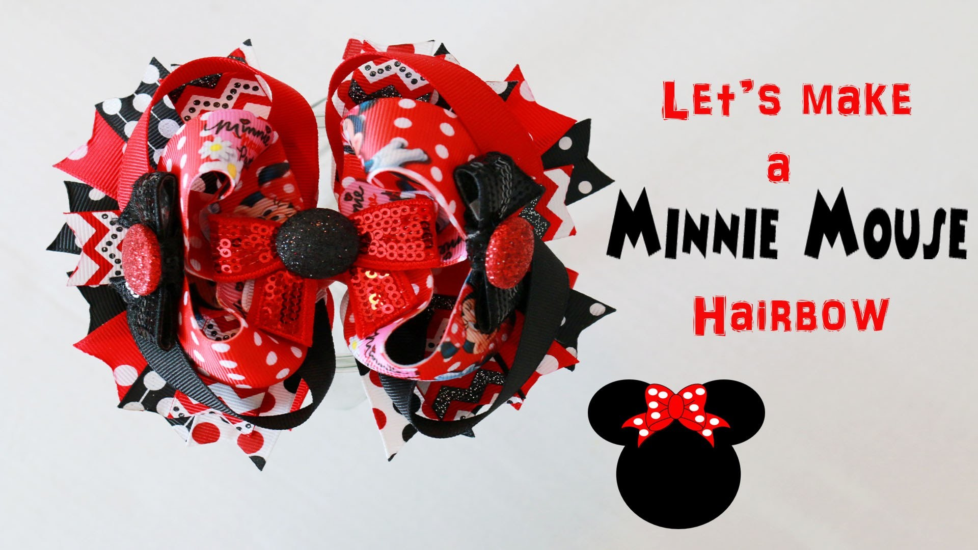 HOW TO: Let's make a MINNIE MOUSE hairbow!. Bow A LONG