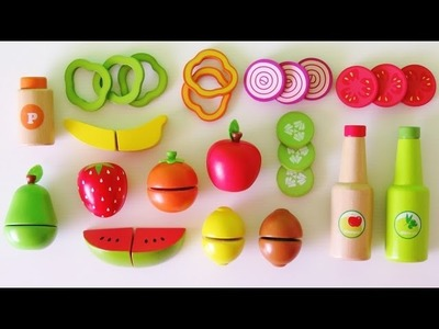 Learn colors learn names of fruits and vegetables make toy salad velcro wooden play food