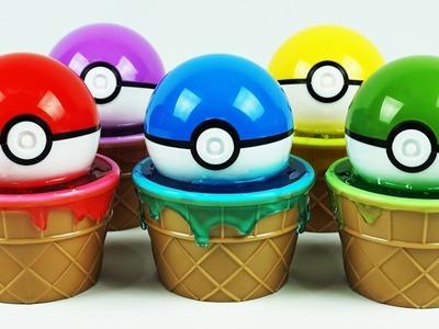 Pokemon Go Pokeballs Slime Clay Ice Cream Surprise Cups and Toys Meowstic,Mew,Helioptile,Pangoro,Gog