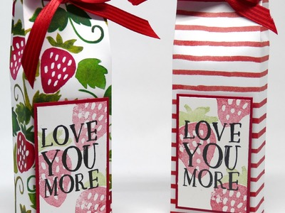 Pretty Strawberry Bag using Stampin' Up! Fruit Stand Paper