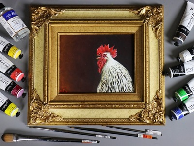 Rooster Acrylic Painting Tutorial - Atelier Interactive Paint Review - Sussex Chicken