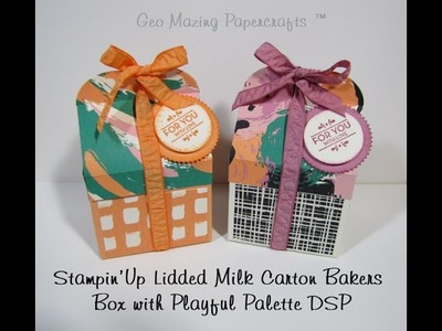 Stampin'Up Lidded Milk Carton Gift Box with Playful Palette DSP