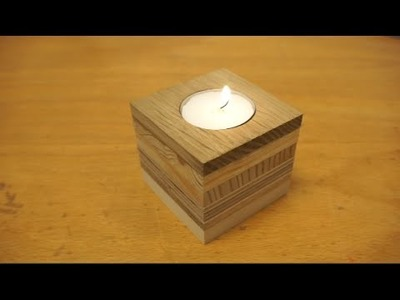 Tealight candle holder from scrap wood. .