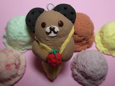 Teddy Bear Deco Ice Cream Cone clay tutorial