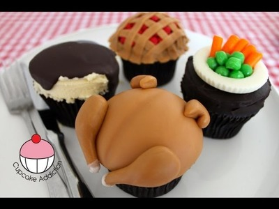 Turkey Feast Cupcakes (Part 2) Thanksgiving Chicken Dinner -  A Cupcake Addiction How To Tutorial