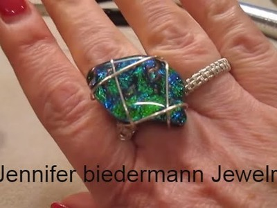 Wire weave ring with glass stone tutorial